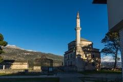 Zadziwiający zmierzchu widok Fethiye meczet w kasztelu miasto Ioannina, Epirus, Grecja zdjęcie royalty free