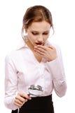 zadziwiająca dziewczyna patrzeje magnifier Zdjęcie Stock
