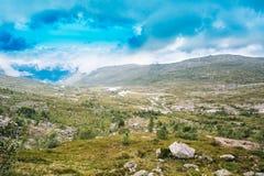 Zadziwiająca natura Norweski góra krajobraz Natura Norwegia Obrazy Royalty Free