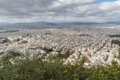 Zadziwiająca panorama miasto Ateny od Lycabettus wzgórza, Grecja Zdjęcie Stock