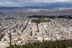 Zadziwiająca panorama miasto Ateny od Lycabettus wzgórza, Grecja Fotografia Stock