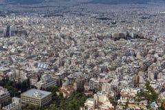 Zadziwiająca panorama miasto Ateny od Lycabettus wzgórza, Grecja Obrazy Royalty Free