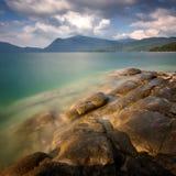 Zadziwiający jesieni scenerii ar Walchensee jezioro Walchensee, Bavaria, Niemcy Obrazy Stock