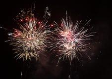 Zadziwiający kolorowi fajerwerki na nocnego nieba tle Obraz Stock