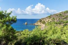 Zadziwiający krajobraz morze na Thassos wyspie, Wschodnim Macedonia i Thrace, Grecja Zdjęcia Royalty Free