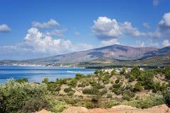 Zadziwiający krajobraz morze na Thassos wyspie, Wschodnim Macedonia i Thrace, Grecja Fotografia Royalty Free