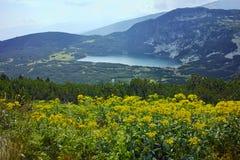 Zadziwiający krajobraz Niski jezioro Siedem Rila jezior Zdjęcia Stock