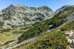 Zadziwiający krajobraz z Prevalski jeziorami i Valyavishki chukar szczytem, Pirin góra Zdjęcie Royalty Free