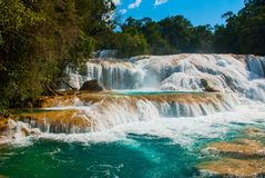 Zadziwiający krajobraz z siklawy Agua Azul, Chiapas, Palenque, Meksyk Zdjęcia Royalty Free