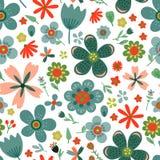 Zadziwiający kwiecisty wektorowy bezszwowy wzór kwiaty Obrazy Royalty Free