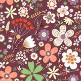 Zadziwiający kwiecisty wektorowy bezszwowy wzór kwiaty Zdjęcia Stock