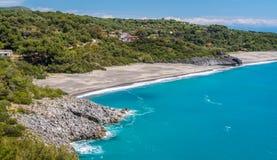 Zadziwiaj?cy ?r?dziemnomorski krajobraz przy Marina Di Camerota, Cilento, Campania, po?udniowy W?ochy obrazy royalty free