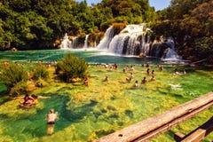 Zadziwiający siklawy Krka park narodowy w Chorwacja Zdjęcie Stock