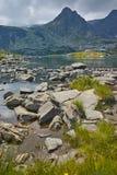 Zadziwiający widok Koniczyna jezioro, Rila góra Siedem Rila jezior Obraz Stock