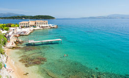 Zadziwiający widok na lazurowym morzu w Corfu wyspie, Grecja Zdjęcia Royalty Free