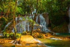 Zadziwiający zjawisko natura Krajobraz z siklawy Agua Azul, Chiapas, Palenque, Meksyk Zdjęcia Stock