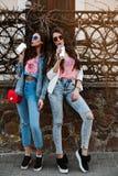 Zadziwiający elegancki dziewczyny odprowadzenie w parku w modnym drelichowym stroju Młode piękne kobiety ubierali w jaskrawej lat Zdjęcia Royalty Free