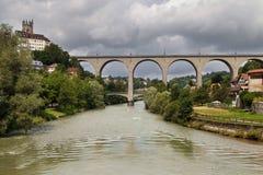 Zaehringen Bridge in Fribourg Royalty Free Stock Photo