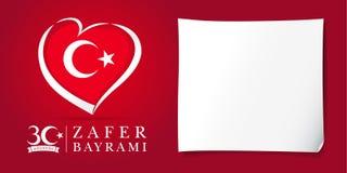 Zafer Bayrami 30 Agustos com a bandeira no coração, cartaz do vermelho de Victory Day Turkey Imagens de Stock
