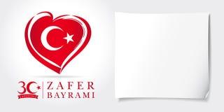 Zafer Bayrami 30 Agustos con la bandera del corazón, Victory Day Turkey stock de ilustración