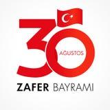 Zafer Bayrami 30 Agustos con los números y la bandera, Victory Day Turkey ilustración del vector