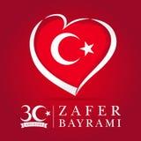 Zafer Bayrami 30 Agustos med flaggan i hjärta, Victory Day Turkey royaltyfri illustrationer
