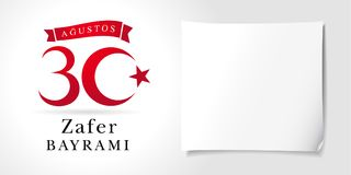 Zafer Bayrami 30 Agustos med nambers och vitbok, Victory Day Turkey royaltyfri illustrationer