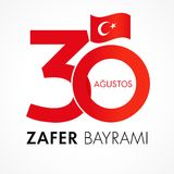 Zafer Bayrami 30 Agustos met aantallen en vlag, Victory Day Turkey Vector Illustratie