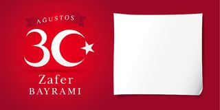 Zafer Bayrami 30 Agustos met nambers en Witboek, Victory Day Turkey Vector Illustratie