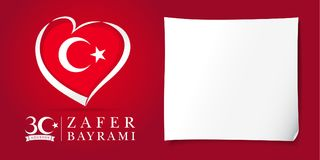 Zafer Bayrami 30 Agustos met vlag in hart, de rode affiche van Victory Day Turkey Stock Illustratie