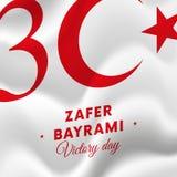 Zafer-bayrami Victory Day Turkey 30. August Flagge Auch im corel abgehobenen Betrag lizenzfreie abbildung