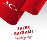 Zafer bayrami Victory Day Turkey august vinkande flagga 30 vektor Arkivfoto