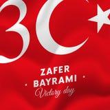 Zaferbayrami Victory Day Turkey 30 augustus-vlag Vector illustratie Stock Afbeeldingen