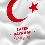 Zaferbayrami Victory Day Turkey 30 augustus-vlag Vector illustratie Stock Foto's