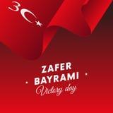 Zaferbayrami Victory Day Turkey 30 de Golvende vlag van augustus Vector Royalty-vrije Stock Foto's
