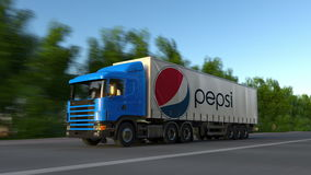 Zafrachtowania semi przewożą samochodem z Pepsi loga jeżdżeniem wzdłuż lasowej drogi Redakcyjny 3D rendering fotografia stock