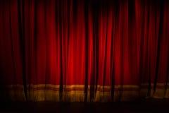 ZAGABRIA, CROAZIA - mercato 14 2017 tenda rossa abbassata del teatro a fotografia stock libera da diritti