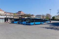 Zagabria, laureato Zagabria/Croazia - 04/21/2019: Autostazione sulla stazione ferroviaria principale a Zagabria fotografie stock libere da diritti