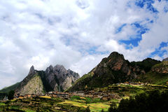 Zagana , A Tibetan village surrounded by mountains Stock Photography