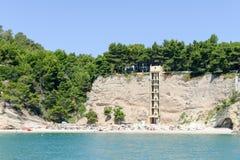 Zagare bay on the coast of Gargano National park on Puglia. On Italy stock photography