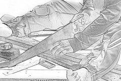 Zagende hout van de schets het mannelijke timmerman Op het werkplaats Achtergrondvakmanhulpmiddel Gezoem in1 stock fotografie