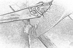 Zagende hout van de Sketh het mannelijke timmerman Op het werkplaats Achtergrondvakmanhulpmiddel Gezoem in 1 royalty-vrije stock fotografie