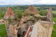 Zagorz podkarpackie/Polen - April, 29, 2019: F?rst?rd kloster i Centraleuropa F?rd?rvar av den historiska templet arkivbild