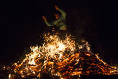 Zagovezni fire ritual jumping Stock Photo