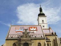 Zagreb. Church with national coat of arms in Zagreb, Croatia, Europe Stock Image