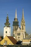 Zagreb. View - cathedral of St. Stephen in city center Stock Photography