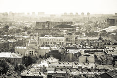 Zagreb aerial black and white view Royalty Free Stock Photography