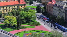 Zagreb, aerial view to the intersection stock video footage