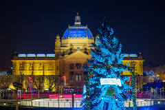 Zagreb Art Pavilion with decorated blue Christmas tree, Croatia Royalty Free Stock Photos