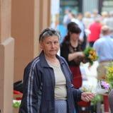 Zagreb/Bejaarde Bloemist stock afbeeldingen
